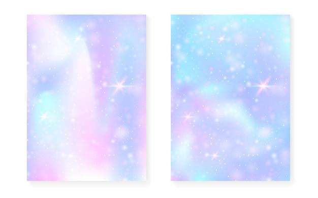 공주 무지개 그라데이션으로 마법의 배경입니다. 귀여운 유니콘 홀로그램. 홀로그램 요정 세트입니다. 세련된 판타지 커버. 귀여운 소녀 파티 초대장을 위한 반짝임과 별이 있는 마법의 배경.