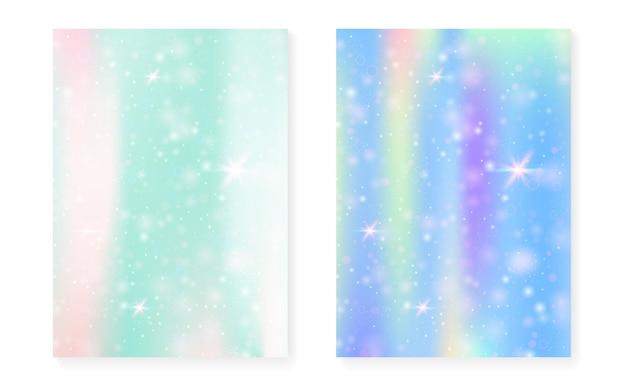공주 무지개 그라데이션으로 마법의 배경입니다. 귀여운 유니콘 홀로그램. 홀로그램 요정 세트입니다. 생생한 판타지 커버. 귀여운 소녀 파티 초대장을 위한 반짝임과 별이 있는 마법의 배경.