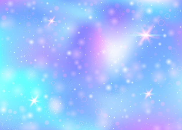 Magic background with rainbow mesh. girlie universe banner in princess colors. fantasy gradient backdrop with hologram. holographic magic background with fairy sparkles, stars and blurs.
