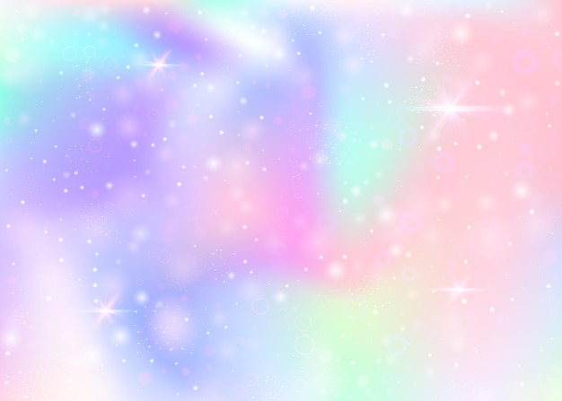 Magic background with rainbow mesh. kawaii universe banner in princess colors. fantasy gradient backdrop with hologram. holographic magic background with fairy sparkles, stars and blurs.