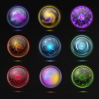 Magic ball. energy sphere with plasma, glowing mystery crystal orbs, spiritual glass globe occult prediction future with fantasy effects 3d illustration vector isolated set on black background