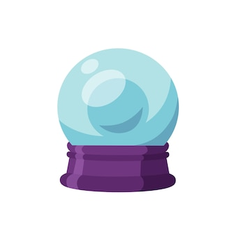 Magic ball flat vector illustration. crystal sphere on stand, wizard attribute. divination, fortune telling, sortilege concept. communication with spirits item isolated on white background.