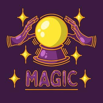 魔法のボール、占い、運命、紫色の背景