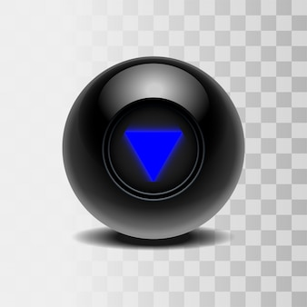 The magic ball of predictions for decision-making. realistic black ball  on a transparent background.  illustration
