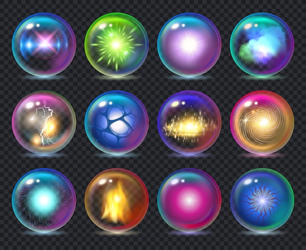 Magic balls. magician nature effect in crystal transparent globe spheres with flame frozy flashes realistic template