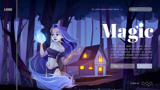Magic banner with mystic girl hold blue fire on hand in night forest.
