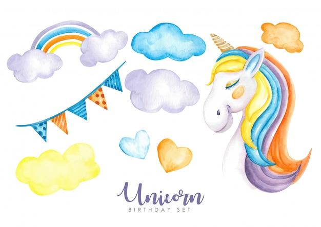 Magic birthday set unicorns watercolor
