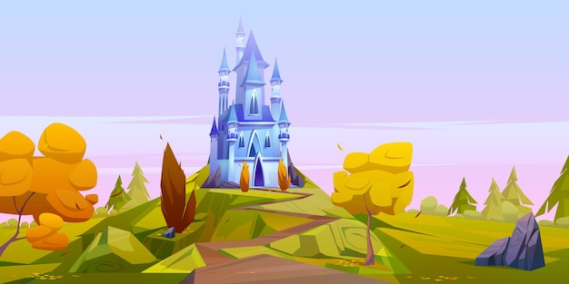 Magic blue castle on green hill with yellow trees.