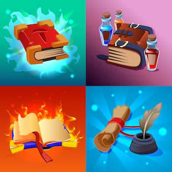 Magic book cartoon concept set with scrolls and potions isolated