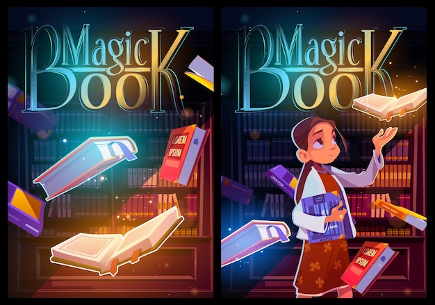 Magic book cartoon posters, young girl in library