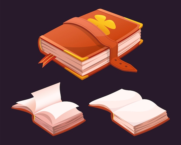 Magic book of spells. collection of cartoon books for game design.