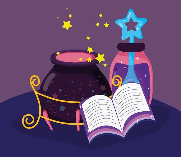 미스터리 물약과 가마솥이 든 마법의 책 프리미엄 벡터