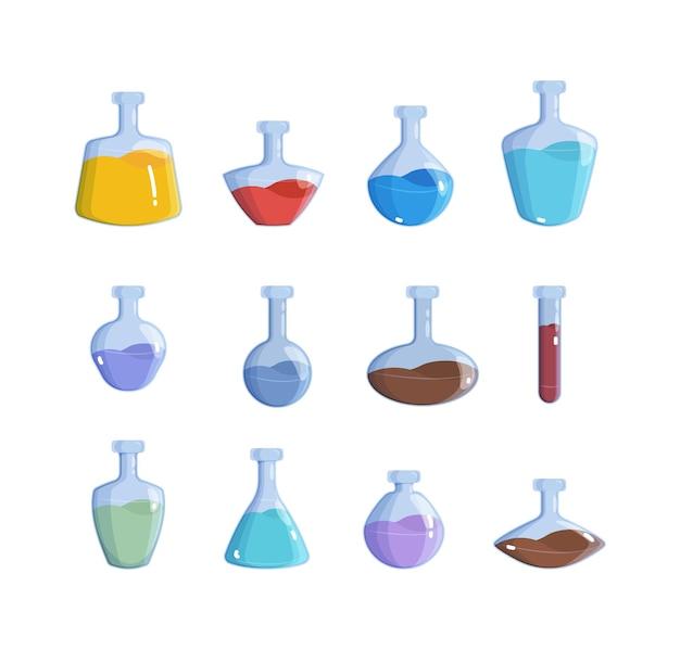 Magic bottles. alchemy potion elemental magic 2d game items vector colored illustration. elixir bottle, chemical drink flask collection