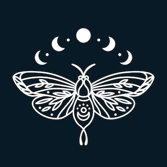 Magic butterfly with moon phases graphic print line art print with moth insect in boho style