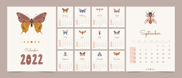 Magic calendar 2022 with boho insects.
