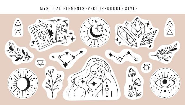 魔法のカード、クリスタルの星座、女の子、キノコ、植物、魔法のシンボル。落書きスタイルの神秘的な要素のセット。