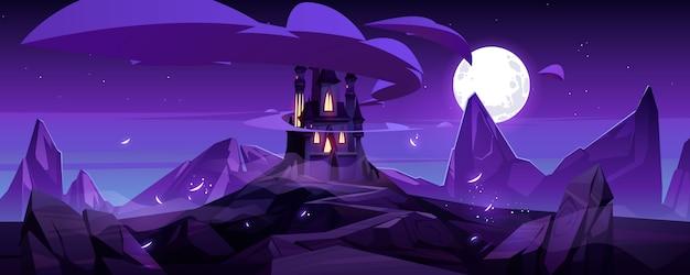 Волшебный замок ночью на горном сказочном дворце
