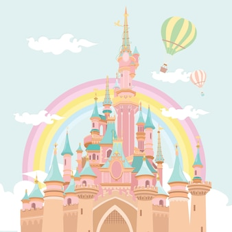 Magic castle hot air balloon illustration