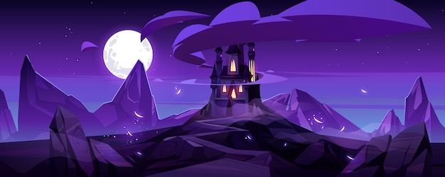 Magic castle at night on mountain, fairytale palace with turrets and rocky road under purple sky with full moon and clouds in sky