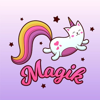 Magic cat unicorn