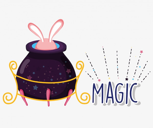 Magic cauldron conjure with rabbit mystery