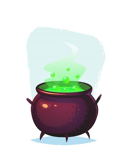 Magic cauldron with glowing green bubbling potion cartoon halloween  illustration