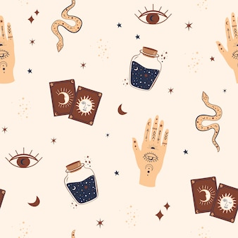 Magic and celestial inspired seamless pattern with magical elements .