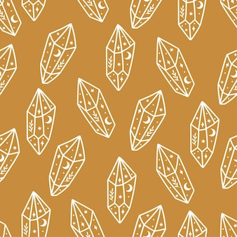 Magic and celestial seamless pattern with magical crystal