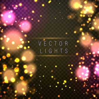 Magic concept. abstract defocused circular golden luxury gold glitter bokeh lights background. graphic resources design template. illustration.