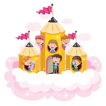 Волшебный концептуальный дизайн с забавными детьми