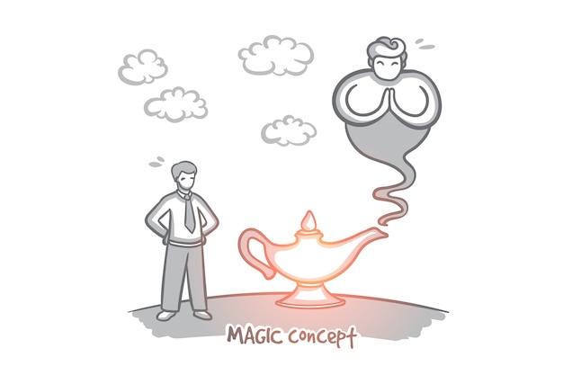 魔法の概念。願いの手描きランプ。ボトルから出てくる魔神孤立イラスト。