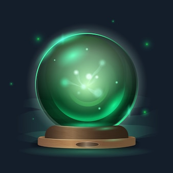 Magic crystal ball in a mystical emerald radiance