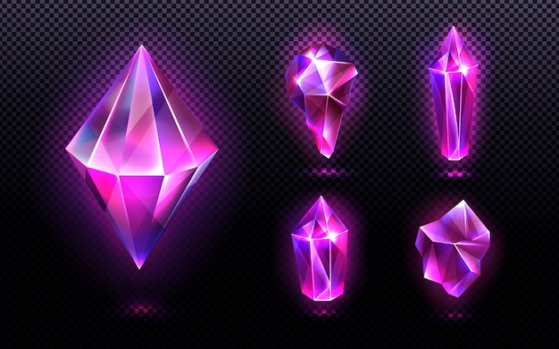 Magic crystal light and gem stones