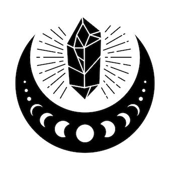 Magic crystal with half moon vector illustration