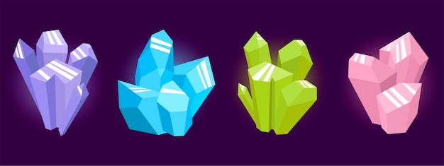 Magic crystals of different colors piled together.