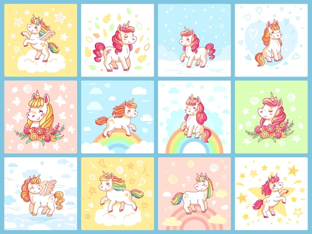 Magic cute baby unicorn on rainbow.