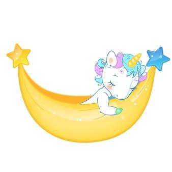 Magic cute unicorn in cartoon style. doodle unicorn sleeping in a hammock.