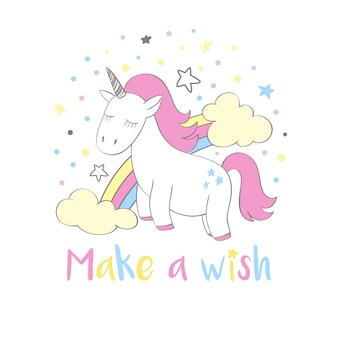 Magic cute unicorn in cartoon style with hand lettering make a wish.