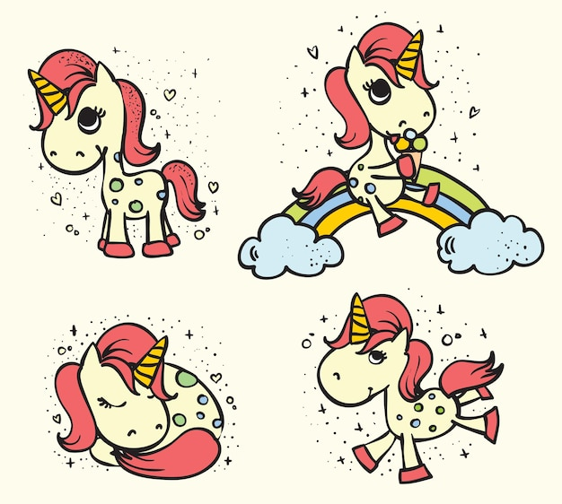 Magic cute unicorn set vector illustration for greeting card design tshirt print