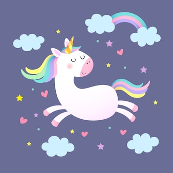 Magic cute unicorn, stars, clouds and heart shapes on purple background