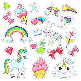 Magic cute unicorn stickers set