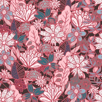 カラフルな花と葉の混乱と魔法の濃い赤の落書き花のシームレスなパターン
