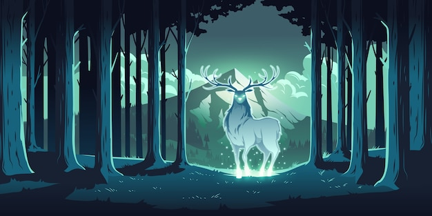 Magic deer in night forest, mystical stag with glowing eyes and body, soul of nature, wood protector, totemic animal at trees and mountain landscape, majestic reindeer, cartoon illustration