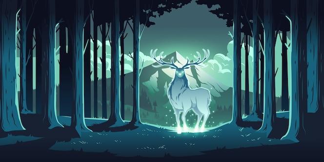Cervo magico nella foresta notturna, cervo mistico con occhi e corpo luminosi, anima della natura, protettore del legno, animale totemico sugli alberi e paesaggio montano, maestose renne, fumetto illustrazione