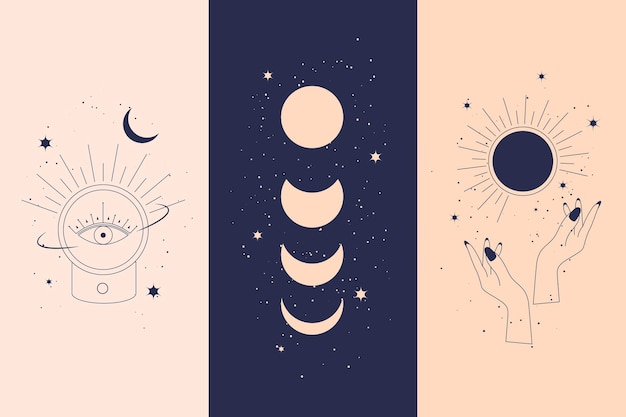 Magic diamonds and woman hands with moon crescent in boho linear style vector illustrations set. simple bohemian emblems in golden lines with hands for mythical design and esoteric concept.