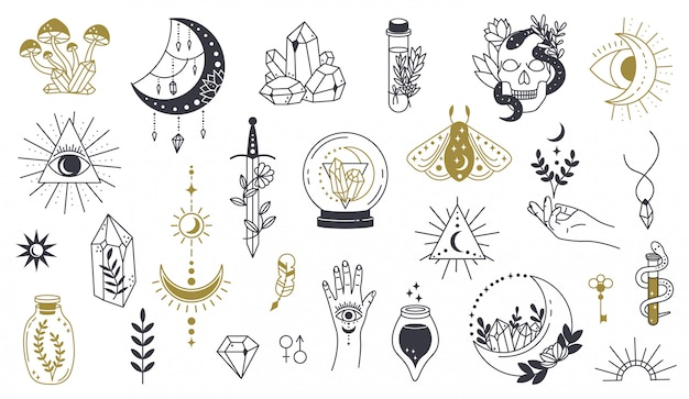 Волшебный рисунок символа элемент ведьмы нарисованный рукой волшебный, кристалл колдовства doodle, череп, нож, установленные значки иллюстрации эскиза татуировки тайны. магия и колдовство, эзотерическая ведьма