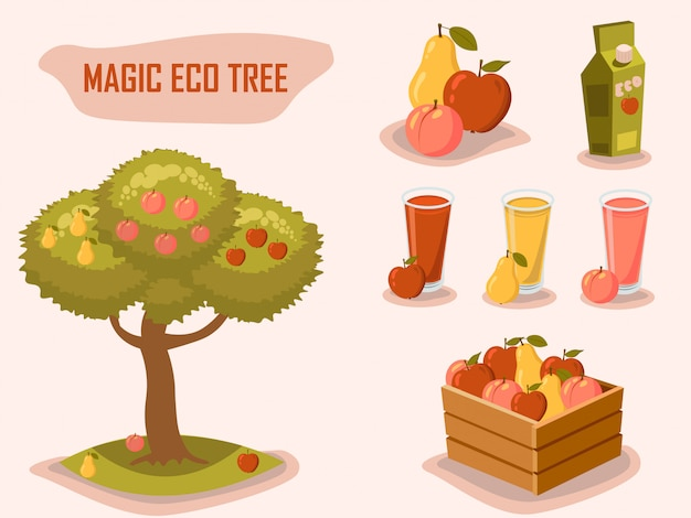 Magic eco tree. gardening. farm fresh. retro style vector elements.