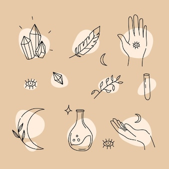 Magic elements in hand drawn linear style style for magic and astrology Premium Vector
