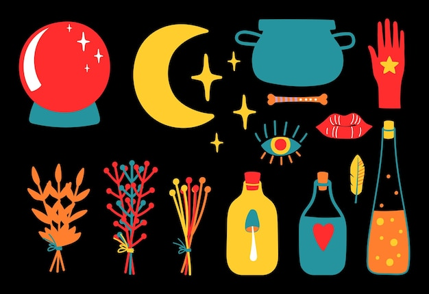 Magic equipment. magical tools, poison bottles globe and plants doodle vector collection