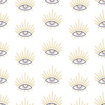 Волшебные злые открытые глаза бесшовные модели в стиле бохо на белом фоне, современный модный рисованный символ вектора амулет и элемент мистического дизайна, плоская иллюстрация оккультного каракули для текстиля и ткани